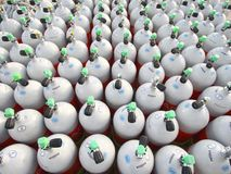 Scuba air tanks. Okinawa,Japan-July 25, 2017: Air tanks are ready for scuba diving stock photo