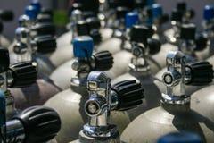 Valves of scuba tanks royalty free stock photos