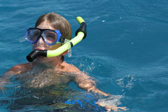 Scuba boy in the ocean royalty free stock photo