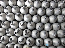 Scuba cylinders. Rows of aluminum scuba cylinders waiting to be filled royalty free stock photos