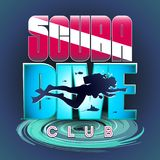 Scuba Dive Club. Vector stylized logo or sign of scuba divers. The image of a floating scuba diver on the background of a bright inscription: Scuba Diver CLUB Royalty Free Stock Image