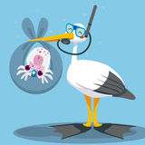 Scuba Dive Stork Delivery. Scuba diver stork delivering a newborn baby squid underwater on a blue blanket Royalty Free Stock Photography