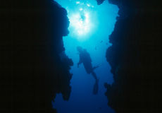 Scuba Diver. A scuba diver swims between two massive coral walls. Image was taken with a Nikonos V professional underwater camera system Stock Image