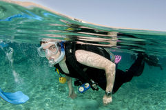 Scuba diver. Swims on surface before a dive Royalty Free Stock Photo