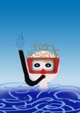 Scuba diver. A child makes scuba diver in the sea Stock Image