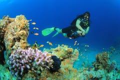 Scuba Diver. Woman Scuba Diver explores coral reef royalty free stock photo