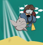 Scuba diver. Dives with a dolphin Stock Images