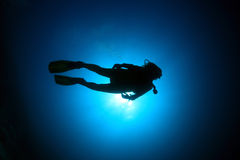 Scuba diver. In the blue water of the ocean royalty free stock photos