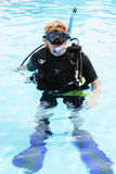 Scuba diver. In the swimming pool Royalty Free Stock Photos