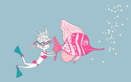 Scuba diver. Vector illustration of an scuba diver and tropical fish Royalty Free Stock Photo