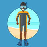 Scuba diver on the beach vector illustration. Royalty Free Stock Photography