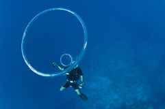 Scuba diver blows bubble rings Royalty Free Stock Photos