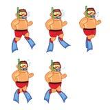 Scuba Diver Boy Animation Sprite Stock Images
