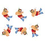 Scuba Diver Boy Animation Sprite Stock Image