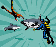 Scuba diver cand sharks. Vector art on scuba diving stock illustration