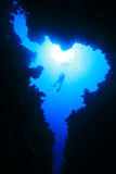 Scuba Diver and Canyon. Scuba Diver swims over an underwater canyon stock photography