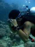 scuba diver clearing the mask Royalty Free Stock Image