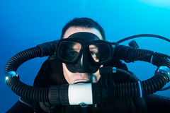 SCUBA diver on a closed circuit rebreather Stock Photo