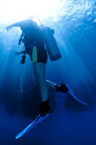 Scuba diver comes up from a dive. Shilouetted scuba divers swim in the deep blue ocean stock images