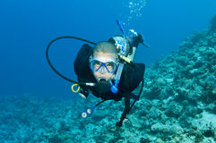 Scuba diver on a coral reef Stock Image