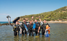 Scuba Diver Course. Group of young men and a female learning to dive on a Scuba Diver course stock photo
