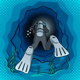 Scuba diver dives into the cave pop art vector Stock Image