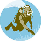 Scuba diver diving. Illustration of a scuba diver diving Stock Images