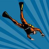 Scuba diver diving deep. Vector art on scuba diving royalty free illustration