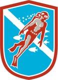 Scuba Diver Diving Going Up Shield Retro Royalty Free Stock Photos