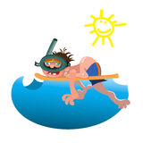 Scuba diver  equipment water sport activity vacation leisure vector illustration. Royalty Free Stock Photos