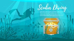 Scuba Diver explores treasure chest. Vector cartoon style underwater background with sea flora and fauna. Coral reef, sea plants and fishes silhouettes. Scuba Royalty Free Stock Photography