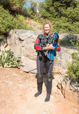 Scuba Diver. Female Scuba Diver ready for a dive royalty free stock photography