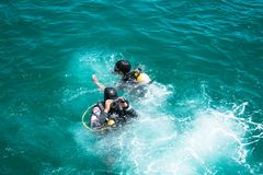 Scuba diver floating on the sea at Chonburi, Thailand. royalty free stock photography