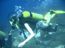 Scuba diver group lesson stock images