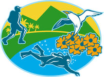 Scuba Diver Hiker Island Tropicbird Flowers Retro Stock Image