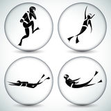 Scuba Diver Icon Set Royalty Free Stock Photos