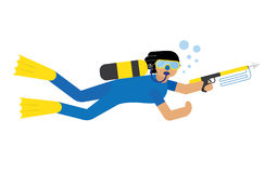 Scuba diver isolated. Extreme diving sport. Cartoon diver isolated Stock Image