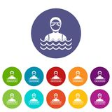 Scuba diver man in diving suit set icons Royalty Free Stock Images