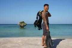 Scuba diver man in Japan. 2 Stock Image
