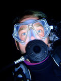 Scuba diver at night Stock Photos