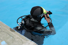 Scuba diver in pool Stock Photo