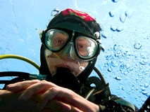 Scuba diver portrait Royalty Free Stock Image