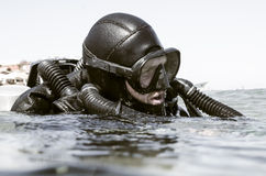 Scuba diver with re-breather