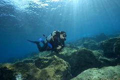 Scuba-Diver in shallow water. A feamle scuba diver is exploring an underwater reef landscape in shallow water. turkish sea. Sunrays and reflections on water Royalty Free Stock Image