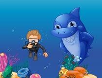 Scuba diver and shark underwater. Illustration Stock Photo