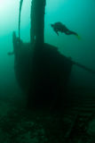 Scuba Diver and Shipwreck in Depths of Lake Michigan Royalty Free Stock Photos