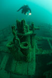 Scuba Diver and Shipwreck in Great Lakes Stock Images