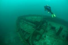 Scuba Diver and Shipwreck in Lake Michigan Stock Photos