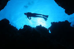 Scuba Diver Silhouette - Cozumel, Mexico Royalty Free Stock Photography