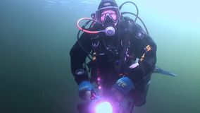 Scuba diver silhouette flashlight on background reflection sunlight underwater. Amazing unique beautiful video. Relax stock footage